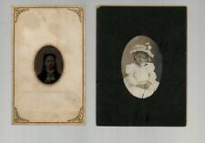 2 Vintage Tin Type Photos of Girls with names - Ann Hook & Minnie Beckwith - VG
