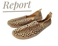Report brown cheetah leopard animal print slip on flat loafers women's size 7.5