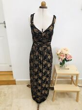 PHASE EIGHT Gatsby 20's Long Full Length Black & Gold Lace Evening Dress Size 12
