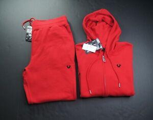 TRUE RELIGION Men's Ruby Red Buddha Zip Up Fleece Hoodie & Jogger Pant Set sz L