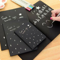 DIY Black Paper Sketch Book Diary for Drawing Painting Graffiti with Soft Cover