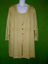 Dialogue QVC 2pcs silk size3X blend sweater tunic cardigan sleeveless top green