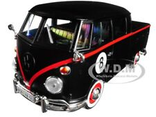 VOLKSWAGEN TYPE 2 (T1) DOUBLE CAB PICKUP #8 MATT BLACK 1:24 BY MOTORMAX 79562