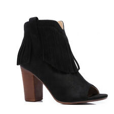 Womens Ladies Block Heel Cowboy Style PEEP Toe Tassle Ankle BOOTS Shoes Size 3-8 UK 5 Black