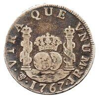KM# 48 - 2 Reales - Silver (.917) - Carlos III - Bolivia 1767 PTS JR (Fair)