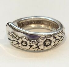 Vintage Silverware Jewelry, Size 5.25 Ring with Flowers & Leaves, Silver-plated