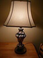 "Antique Hand Painted Lamp Gilded Base, Black, Blue, White, 27"", Excellent Item"