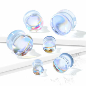 Pair Iridescent Glass Double Flare Plugs
