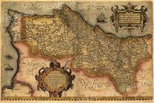 1570s Wall Map of Portugal 16th Century Portuguese Map - 24x36