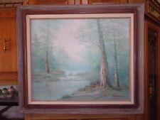 Vintage Kingman Oil on Canvas Painting~Misty Forest Scene 29 1/2 x 25 3/4