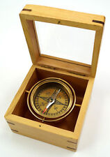 "Brass Lifeboat Gimbal Compass in 4.5"" Display Case Nautical Desktop Decor Gift"