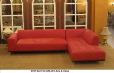 2PC Modern contemporary Red leather sectional Chaise + sofa set #1707