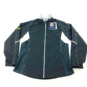 NWT FootJoy HydroLite Waterproof Rain Jacket Black Sz L Womens Golf Black Logo