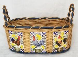 BEAUTIFUL Decorative Oval BASKET Rooster Ceramic Tiles