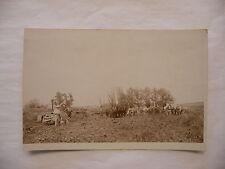 Real Photo Postcard RPPC - Farm Scene Farmer Farming - Railroad Train Tracks
