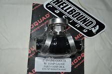 Billet inline cooler with temp gauge Yamaha Raptor 700 2006-2012 BLACK