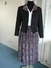 Vintage BLACK GREY 2 Piece SKIRT SUIT UK 8/10