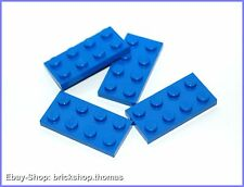 Lego 4 x Platte (2 x 4) - 3020 blau - Blue Plate - NEU / NEW