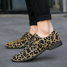 Formal Mens Leopard Print Dress Lace Up Nightclub Shoes Casual Pumps Low Heels