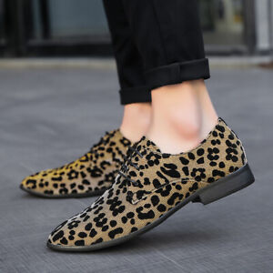 Men's Leopard Printing Dress Shoes Pointed Toe Nightclub Lace Up Casual Shoes