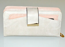 CARTERA billetera blanca rosa mujer portafolio bolso monedero wallet purse G10