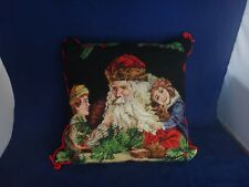 Vintage Imperial Elegance Christmas Needlepoint Pillow ~Santa With Children~
