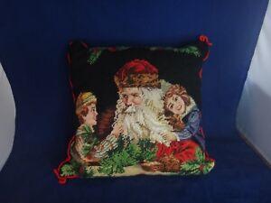 Vintage Imperial Elegance Christmas Needlepoint Pillow ~SANTA WITH CHILDREN~