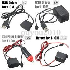 1/3/5M Led Flexible EL Wire Neon Glow Light Strip + 3V/12V Controller USB Party