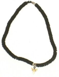Chicos Necklace Shark Tooth Womens Black Chain Pendant Cord Wood Beaded
