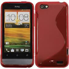 Coque en Silicone HTC One V - S-Style rouge + films de protection