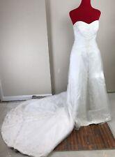 Maggie Sottero White Strapless Wedding Dress Bridal Ball Gown sz 10 Lace Up spar