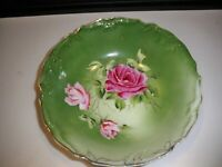 VINTAGE GREEN PORCELAIN BOWL WITH ROSES 8 1/2''