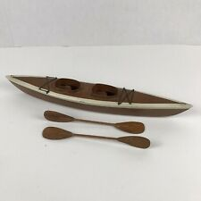 "Vintage Wood Canoe Model With Two Paddles 16"" Long"