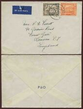 ADEN 1947 AIRMAIL P + O ENVELOPE 2A + 8A to GB