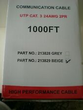 Communication Cable UTP Cat-3 , 24Awg ,  Twisted 2-Pair Cable, Paige - 1000ft