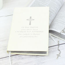 Personalised SILVER COMPANION HOLY BIBLE 1st Communion Christening, Wedding Gift
