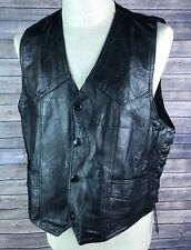 Hog Leather Black Vest L Motorcycle Lace Sides Patch Rocky Ranch Hides Snap C2