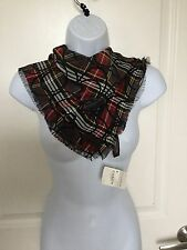 Coach Scarf Signature Tartan Red Black Gray White Fringe Square Neck Tie NWT
