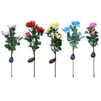 3LED Solar Simulation Rose Flower Light Waterproof Garden Landscape Lamp R1BO