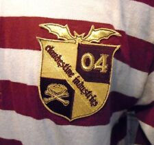 CLANDESTINE INUSTRIES Fall Out Boy Retro Stripe Patched Rugby Shirt Mens M/L 1