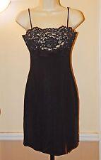 TADASHI Black Silky Stretch Form-Fitting Mini Dress w/Rhinestones & Lace SIZE 6