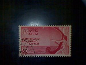 Stamps, Italy, Scott #C81, used (o), 1935 air mail, Muse Playing a Harp, 60cts,