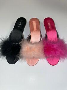 #69 EZSTEP wedges Women marabou slipper ostrich feather BLACK GOLD LEOPARD