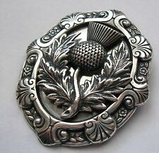 New Sterling Silver Thistle Scottish Pipers Plaid Kilt Hat Pin Brooch Celtic