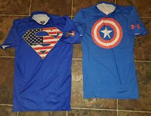 Under Armour SZ MED Compression CAPT AMERICA&Superman America Flag Stripes T'S