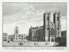 WESTMINSTER ABBEY, LONDON, Large Maitland original antique print 1756