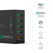Aukey Quick Charge 2.0 54W 5Port USB Fast Charger QC2.0 Wall Charging US Plug