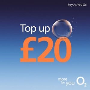 O2 - £20 - Pay as You Go - Mobile phone - Top Up Code / Voucher