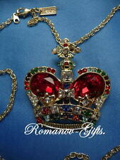 Russian Imperial Empress Alexandra Ruby Crown Pendant and Necklace
