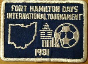 "vintage soccer patch 4"" X 3"" Fort Hamilton Days International Tournament OH 1981"